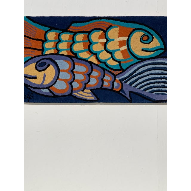 1970s 1970s Bold Fish Weaving Carpet Wall Decor For Sale - Image 5 of 7