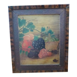 Antique Folk Art Painting on Canvas of Fruit in Early Deceptive Painted Frame For Sale