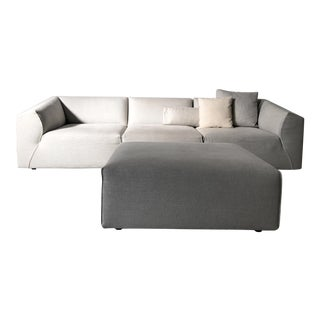 Modern Modular Sofa and Ottoman Light Grey and White Piping by Mdf Italia For Sale