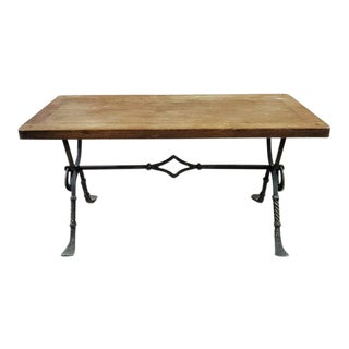 Antique French Wrought Iron Forged Leg Coffee Side Table