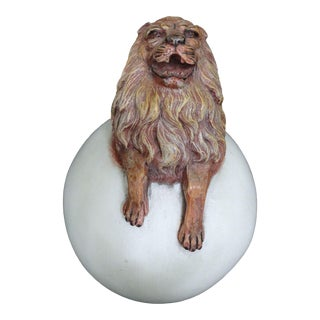Sergio Bustamante Lion Ceramic Sculpture For Sale