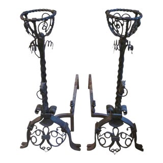 Large Figural Wrought Iron Andirons - a Pair