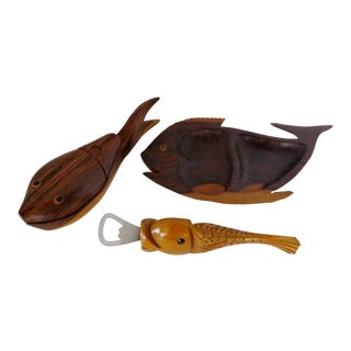 Wood Accessories With Fish Motif, 3 Pieces For Sale