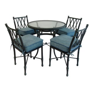 "Vintage Woodard ""Landgrave"" Neoclassical-Style Outdoor Cast Aluminum Dining Set -5 Pieces For Sale"