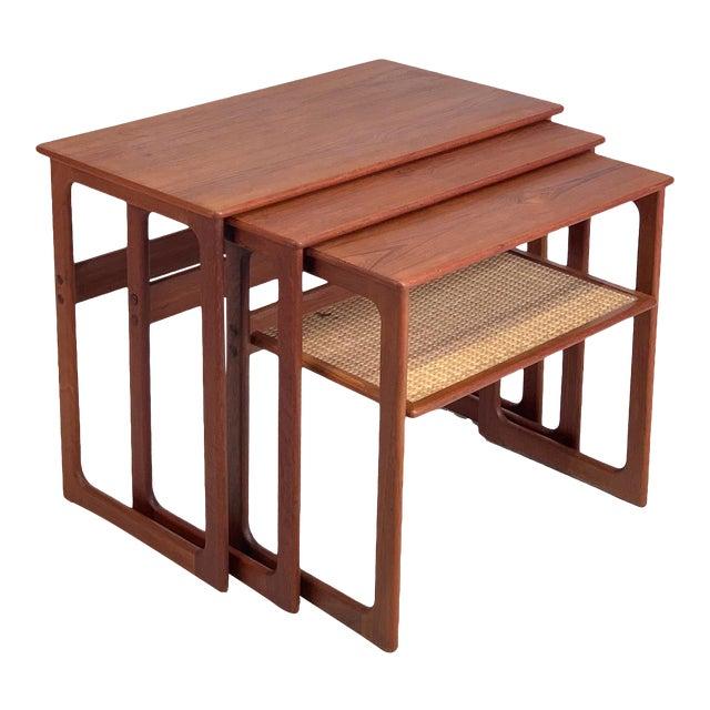 Vintage Danish Teak Nesting Tables With Cane Shelf For Sale