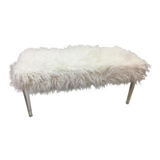 Contemporary Faux Sheepskin Bench With Lucite Legs