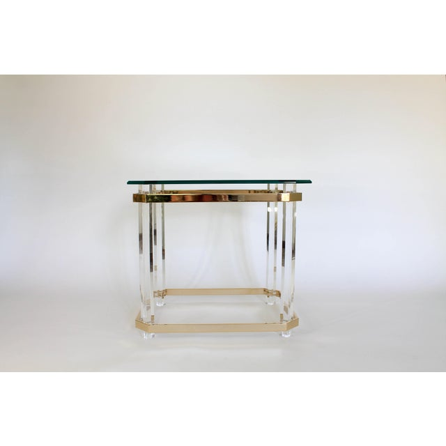 Metal Lucite & Brass Side Table For Sale - Image 7 of 11