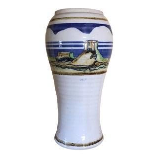 "13.5 Inch Studio Pottery Vintage Hand Painted Vase,desert Scene,signed ""Alpha"" For Sale"