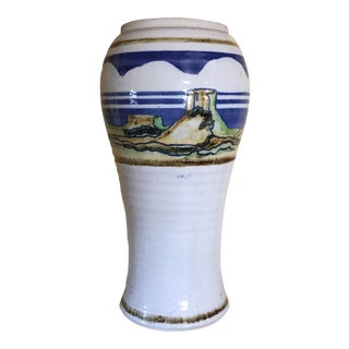 "13.5"" Studio Pottery Vintage Hand Painted Vase For Sale"