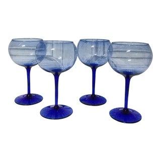 Vintage Cobalt Blue & Sky Blue Wine Glasses - Set of 4 For Sale