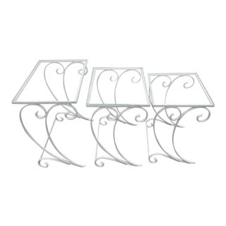 Vintage Wrought Iron Patio Nesting Tables - Set of 3