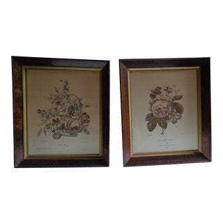 1930s Vintage French Floral Prints - A Pair For Sale