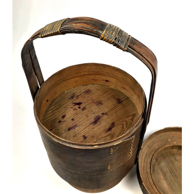 Bamboo 1900s Chinese Wood and Reed Wedding Basket For Sale - Image 7 of 13