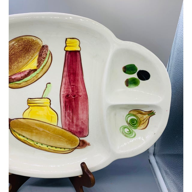Los Angeles Potteries Bbq Grill Sectional Platter/ Vintage Hamburger and Hot Dog Serving Plate For Sale - Image 10 of 11