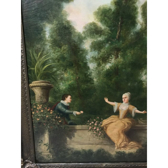 Antique French Oil Painting on Canvas For Sale - Image 4 of 10