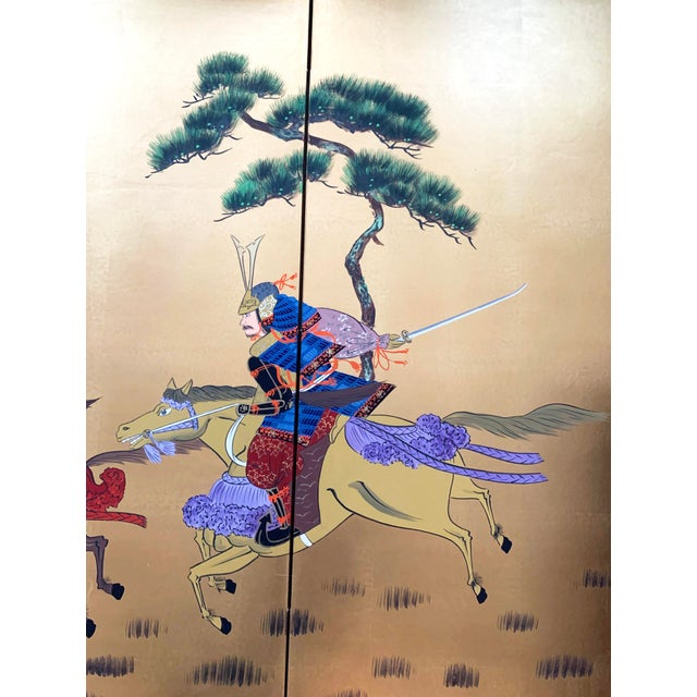 Vintage Japanese Gold-Leaf Byobu 4 Panel Folding Screen with Three Samurai on Horseback and Pines For Sale - Image 4 of 13