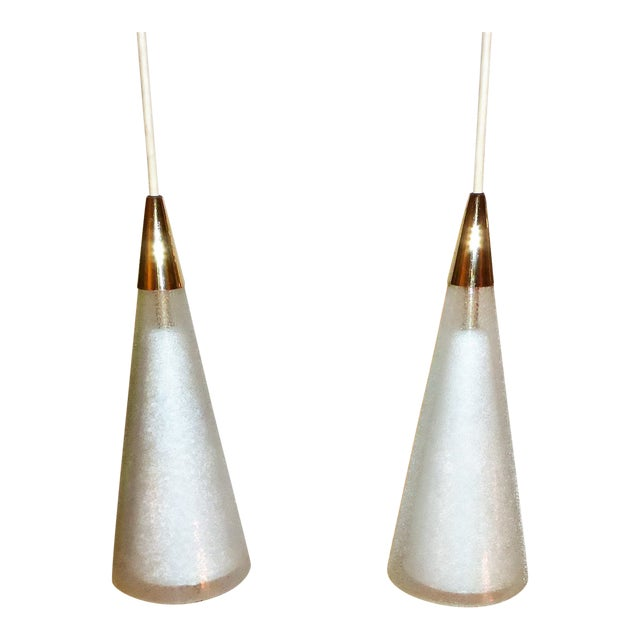 1950s Italian Double Cone Glass and Brass Pendants - a Pair For Sale