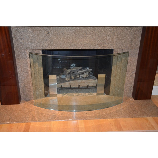 Custom Curved/Bowed Glass Fireplace Screen For Sale In Denver - Image 6 of 11