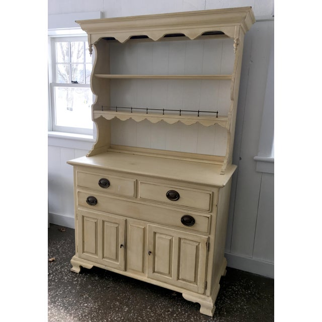 Ethan Allen Yellow Hardwood Hutch - Image 5 of 10