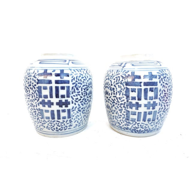 Ceramic Antique Kangxi Period Chinese Blue & White Porcelain Ginger Jars- a Pair || Double Ring Marked For Sale - Image 7 of 11