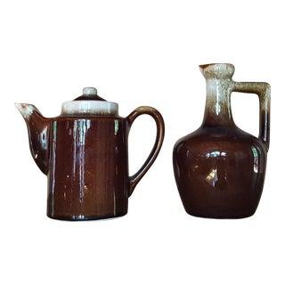 Vintage Pottery Teapot & Jug - A Pair