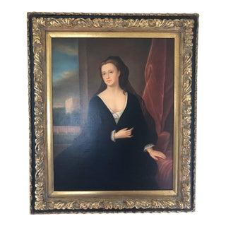 Vintage Mid-Century Female Portrait Oil Print Painting For Sale