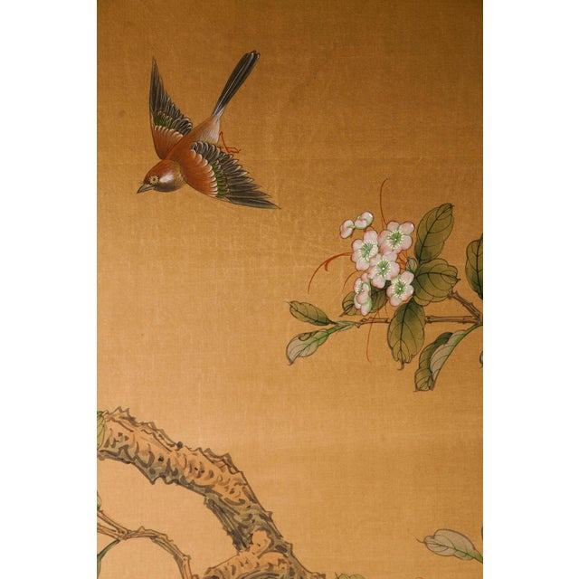 Tan Sung Tze-Chin Large Chinoiserie Hanging Screen Ink on Silk Birds and Flowers Scene 9 Feet Wide by 7 Feet Height For Sale - Image 8 of 13