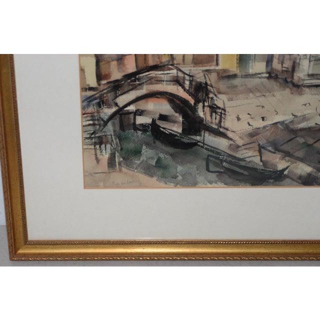 Riva Helfond (American, 20thc.) European Street Scene Original Watercolor c.1950s Original watercolor on paper. Signed in...