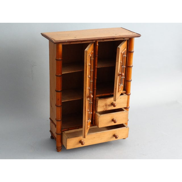 Diminutive Faux Bamboo Armoire For Sale - Image 4 of 8