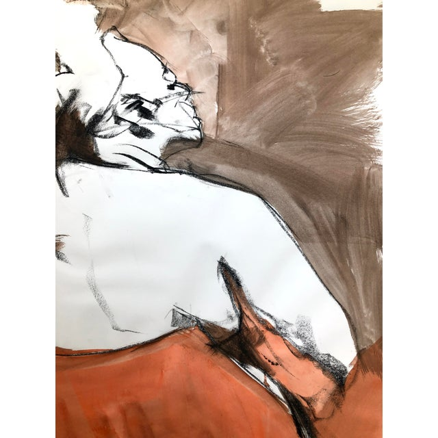 """Contemporary Figure Drawing in Orange and Black, """"Queen Gloria"""" by David O. Smith For Sale - Image 9 of 12"""