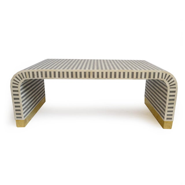 2010s Inlay Striped Waterfall Coffee Table For Sale - Image 5 of 5