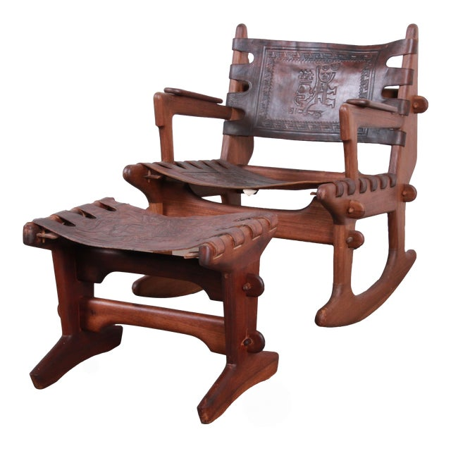 Angel Pazmino Teak and Leather Rocking Chair With Ottoman, Ecuador, 1960s For Sale