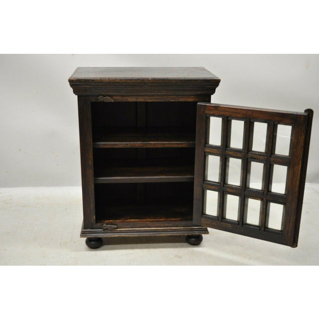 Vintage British Colonial Style Small One Door Wooden Curio Display Cabinet For Sale In Philadelphia - Image 6 of 12