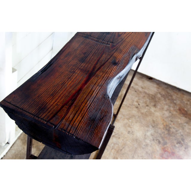 """2020s Organic Modern Natural Edge Long-Leaf Pine Entry Console 39"""" For Sale - Image 5 of 6"""
