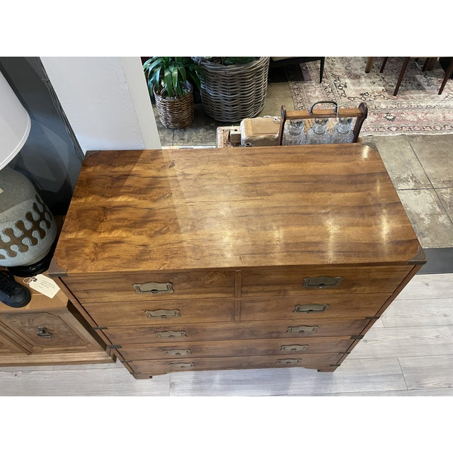 Brown Mount Airy Furniture Company Campaign-Style Mid Century Modern Secretary Chest For Sale - Image 8 of 13