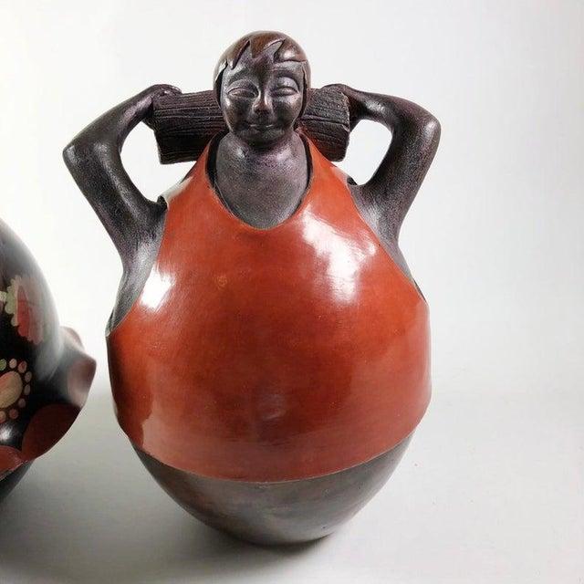 1990s Juan Sandoval Peruvian Folk Art Pottery Figures - a Pair For Sale - Image 5 of 6
