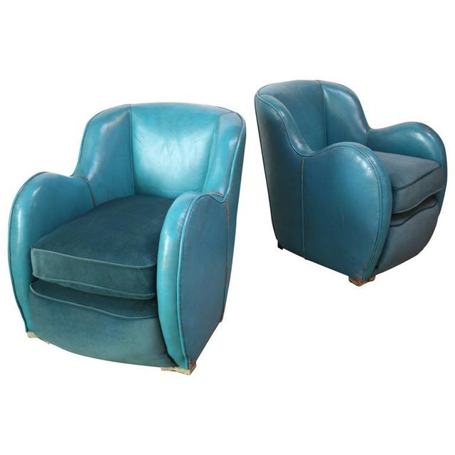 Scandinavian Deco Club Chairs in Blue Leather and Velvet - Image 3 of 11