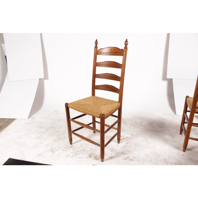 19th-C. English Rush Seat Dining Chairs - S/4 - Image 4 of 8
