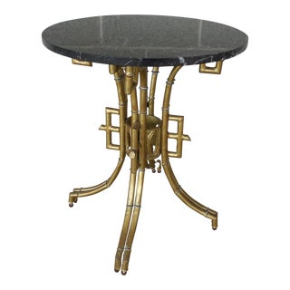 La Barge Gilt Metal Marble Top Side Table For Sale