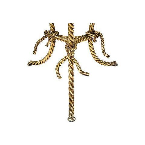 Hollywood Regency Gilt Rope and Glass Top Occasional Table - Image 2 of 4