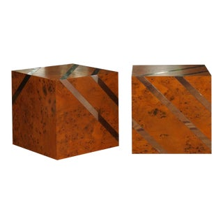 Exceptional Restored Pair of Olivewood and Nickel Cubes For Sale