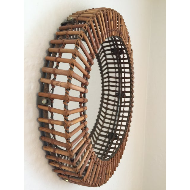 Mid-Century Modern Vintage Umbra Rattan Wall Mirror by Matt Carr; Albini Style For Sale - Image 3 of 9