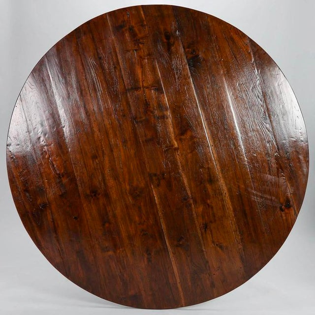 19th Century English Round Chestnut Farmhouse Dining Table - Image 2 of 9