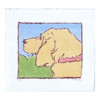 "Woodblock Print ""Hound Dog"" by Michelle Farro For Sale"