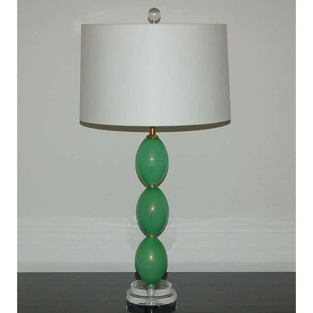 Vintage Murano Glass Egg Table Lamps Green For Sale - Image 9 of 9