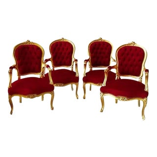 Modern Louis XV Style Chairs- Set of 4 For Sale