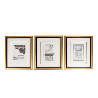 Mid-20th Century Set Three Lithograph / Giltwood Frame For Sale