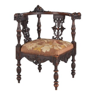 1800s French Renaissance Carved Walnut Corner Chair For Sale