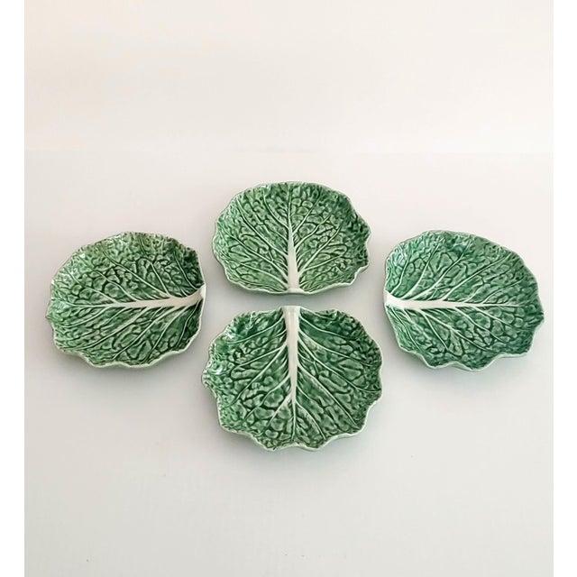 1980s Bordello Pinheiro Green Cabbage Salad Plates - Set of 4 For Sale - Image 5 of 5