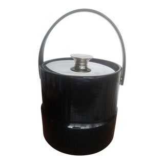 Kraft Ware Mid Century Modern Ice Bucket With Black Patent Leather Look For Sale